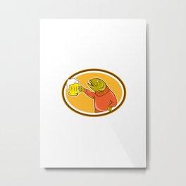 Trout Fish Holding Beer Mug Oval Cartoon Metal Print