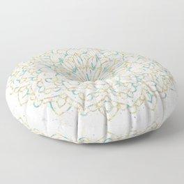Marble Mandala Sea Shimmer Gold + Turquoise Floor Pillow