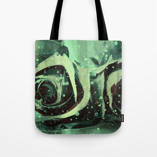 Turquoise Roses Tote Bag