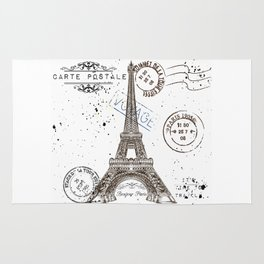 Art hand drawn design with Eifel tower. Old postcard style Rug