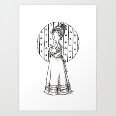 Lady and Cat Art Print