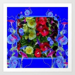 HOLLYHOCKS & MORNING GLORIES COTTAGE BLUE ART Art Print