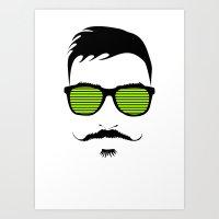 mustache Art Prints featuring Mustache by FalcaoLucas