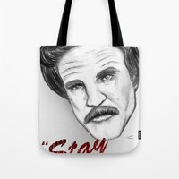"""anchorman Tote Bags featuring """"Stay classy"""" Ron Burgundy - Anchorman by Tom Brodie-Browne"""