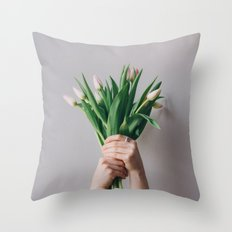 Yay Tulips! Throw Pillow