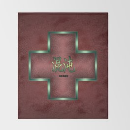 """Chaos"" Chinese Calligraphy on Celtic Cross Throw Blanket"