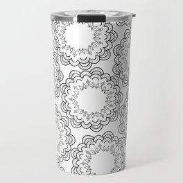 Abstract geometrical black white hand painted mandala Travel Mug