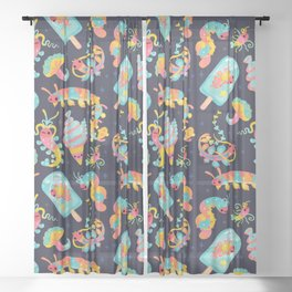 Jelly Polychaete worm - dark Sheer Curtain