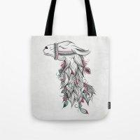 llama Tote Bags featuring Llama by LouJah