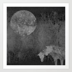 Moon with Horses in Grays Art Print
