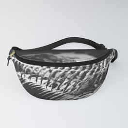 Minimal Winter Ferns Black and White - Forest Nature Photography Fanny Pack