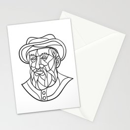 Ferdinand Magellan Mosaic Black and White Stationery Cards