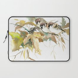 Sparrows and Fall Tree, three birds, brown green fall colors Laptop Sleeve