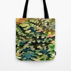 Foliage Abstract In Green, Peach and Phthalo Blue Tote Bag