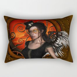 Wonderful steampunk lady with wings and hat Rectangular Pillow