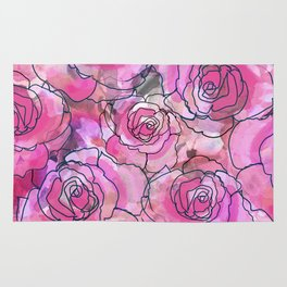 Pink Watercolor Roses Rug