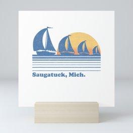Saugatuck MI Sailboat T-Shirt Vintage 80s Sunset Tee Mini Art Print
