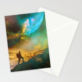 Vibrant Space Hiker Stationery Cards