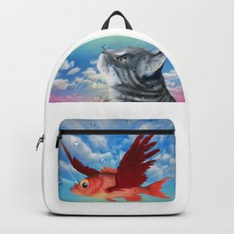 The flying fish and the amazed cat - Fantsy Backpack