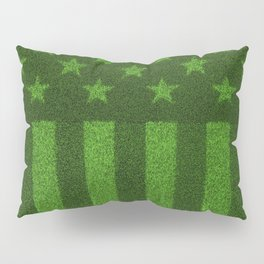 The grass and stripes / 3D render of USA flag grown from grass Pillow Sham