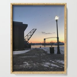 """""""Cleveland Flats in Winter"""" Photography by Willowcatdesigns Serving Tray"""