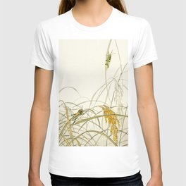 Grasshoppers on plants  - Vintage Japanese Woodblock Print Art T-shirt