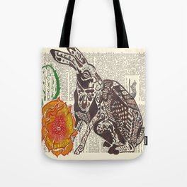 Jumpin' Jack Flash  (jack rabbit and cactus flower on dictionary page) Tote Bag