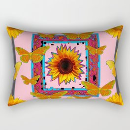 SOUTHWEST ART BUTTERFLIES SUNFLOWERS Rectangular Pillow