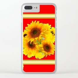 RED YELLOW SUNFLOWER BOUQUETS ART Clear iPhone Case