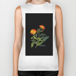 Calendula Officinalis Mary Delany Floral Paper Collage Delicate Vintage Flowers Biker Tank