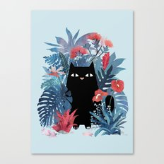 Popoki in Blue Canvas Print