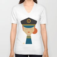 pilot V-neck T-shirts featuring Pilot by Page 84 Design