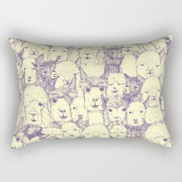 just alpacas purple cream Rectangular Pillow