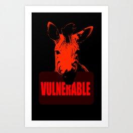 Vulnerable Zebra Art Print