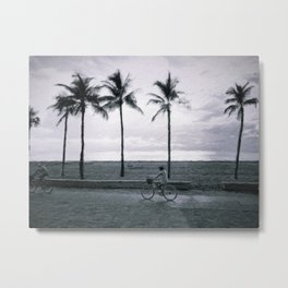 Cyclists by the beach Metal Print