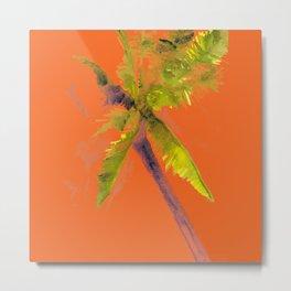 Island Palm Tree Orange Metal Print
