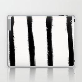 Medium Brush Strokes Vertical Black on Off White Laptop & iPad Skin