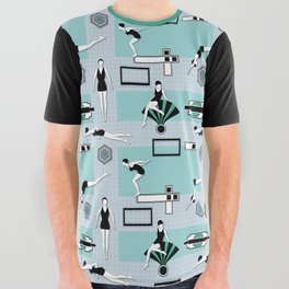 Art Deco Swimmers All Over Graphic Tee