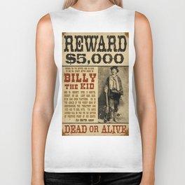 Billy The Kid Mug Shot Wanted Poster Mugshot West Cowboy Vintage Biker Tank