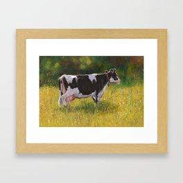 Bessie In The Pasture: Holstein Cow Framed Art Print