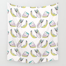 Memphis Tropical Fruit Pattern, Pinapples, Bananas, Watermelon, Seamless Wall Tapestry