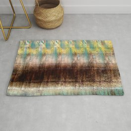 Turquoise, Brown, and Yellow Rug