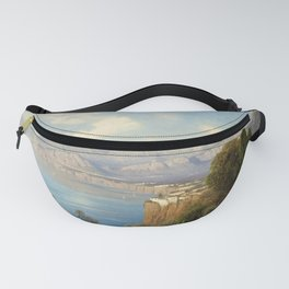 View of Sorrento Italy by Oswald Achenbach Italian Landscape Fanny Pack