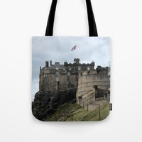 edinburgh Tote Bags featuring Edinburgh Castle by RMK Photography