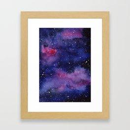 Watercolor Galaxy Nebula Pink Purple Sky Stars Framed Art Print