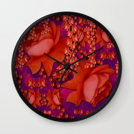 in the tropical power love rose forest in bloom Wall Clock