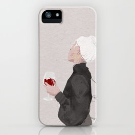 Girl with glass of red wine iPhone Case