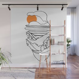 Japanese Beach Front :: Single Line Wall Mural