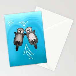 Otters Holding Hands - Otter Couple Stationery Cards