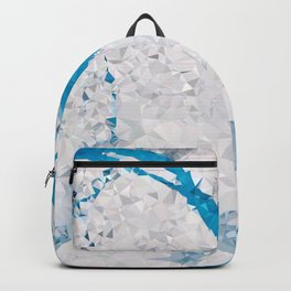 Blue White Marble Low Poly Geometric Triangles Backpack